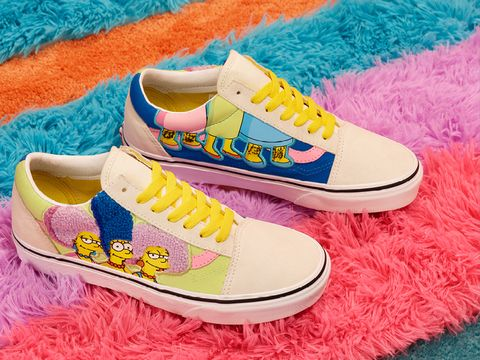 vans x the simpsons聯名系列的麂皮撞色拼接帆布鞋