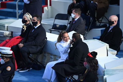 lady gaga and michael polansky near jennifer lopez and alex rodriguez during the inauguration
