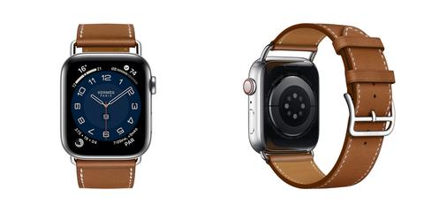 apple watch全新 hermès attelage 系列單圈 淺黃褐色 barénia 小牛皮 錶帶