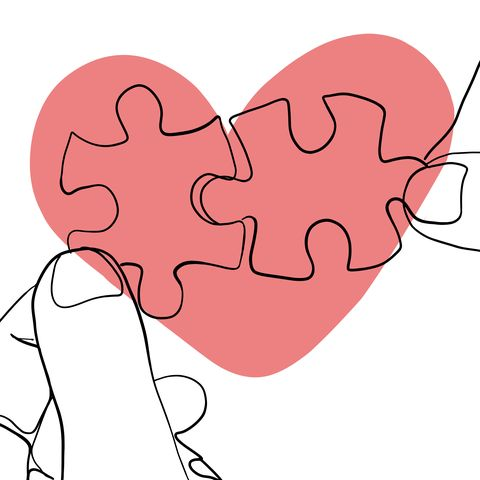 Single line drawing of a heart ans puzzels