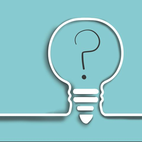 single line drawing of a light bulb with a question mark