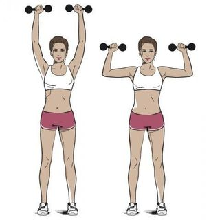 Weights, Overhead press, Exercise equipment, Shoulder, Standing, Joint, Arm, Dumbbell, Muscle, Leg,