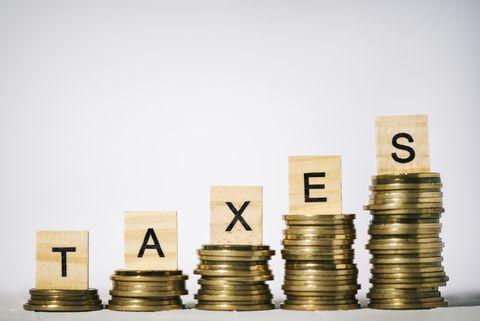 Single Word Taxes On Wooden Block