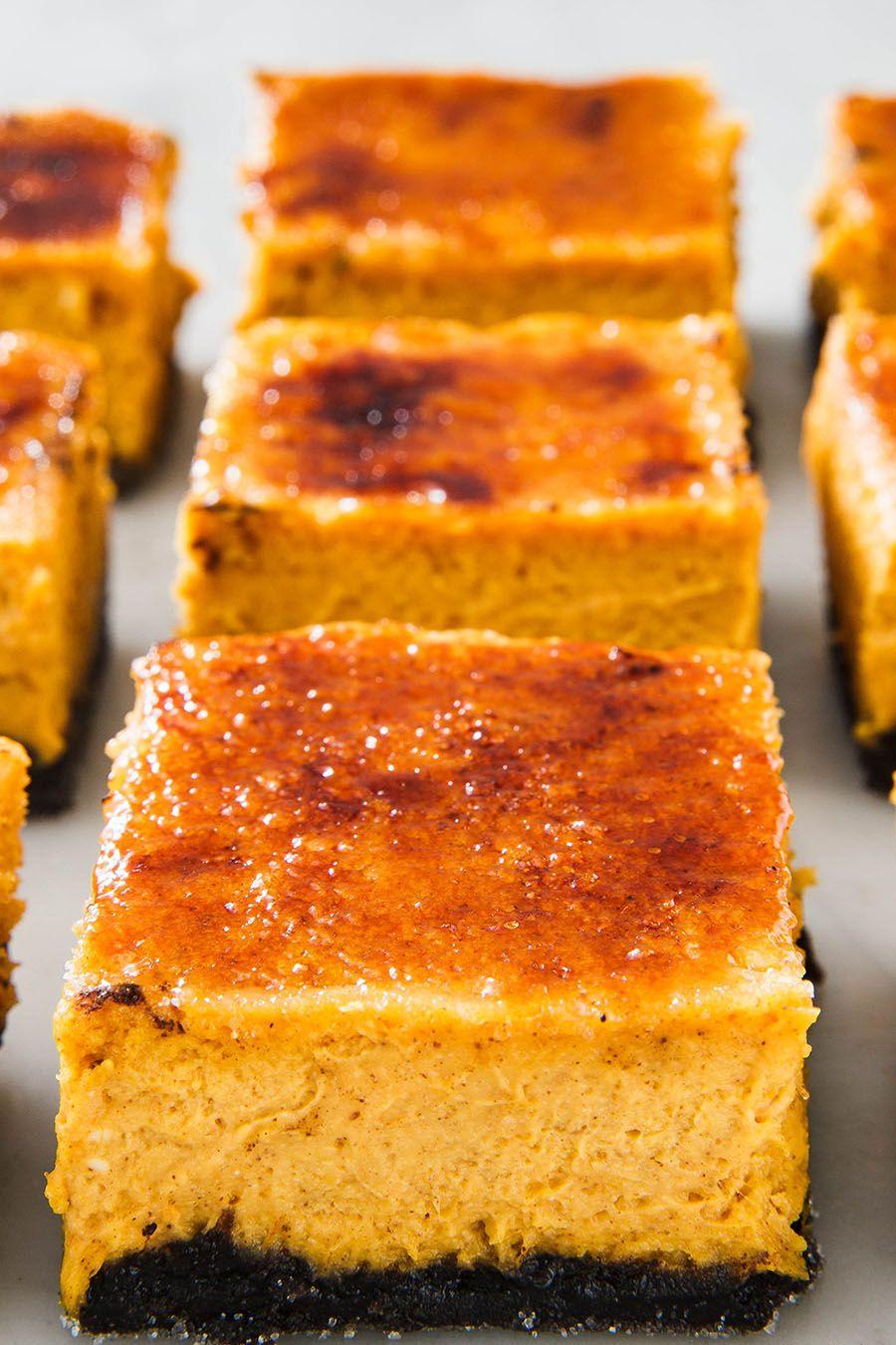 Pumpkin Crème Brûlée Cheesecake Bars - Delish.com