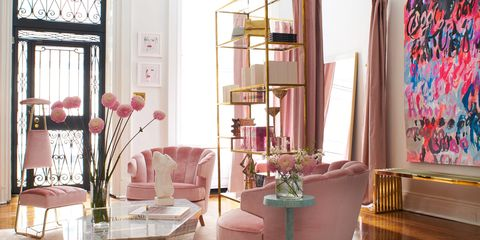 Room, Interior design, Pink, Living room, Curtain, Furniture, Table, Home, Window treatment, Houseplant,