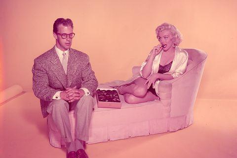 Pink, Sitting, Magenta, Photo caption, Art,