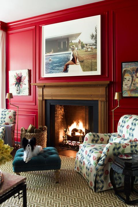 Living room, Room, Furniture, Fireplace, Interior design, Property, Home, Blue, Red, Hearth,