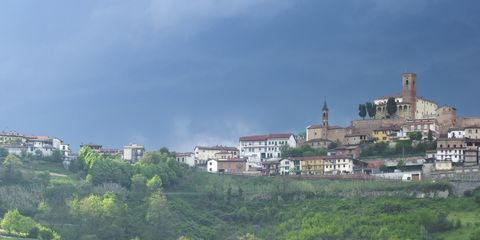 Сity Cisterna d'Asti, province of Piedmont, Italy before a thunder-storm
