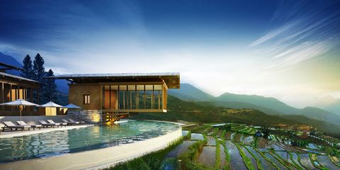 Property, House, Natural landscape, Swimming pool, Architecture, Sky, Building, Home, Resort, Real estate,