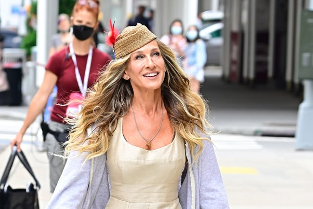 """new york, ny   july 14  sarah jessica parker is seen on the set of """"and just like that""""on july 14, 2021 in new york city  photo by raymond hallgc images  local caption  sarah jessica parker"""