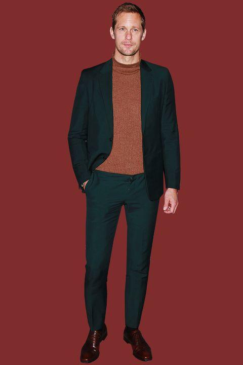 Clothing, Green, Standing, Suit, Outerwear, Blazer, Fashion, Jacket, Maroon, Formal wear,