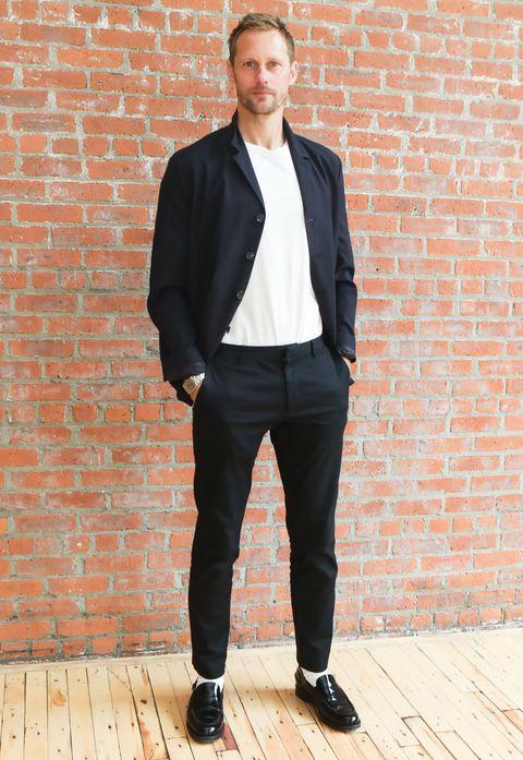 Clothing, Suit, Blazer, Outerwear, Formal wear, Street fashion, Jacket, Fashion, Footwear, Shoe,