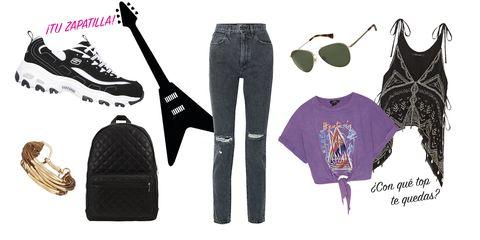 Un look de día con zapatillas Skechers para irte a un festival rock. La clave, Skerchers D'Lites Biggest Fan.