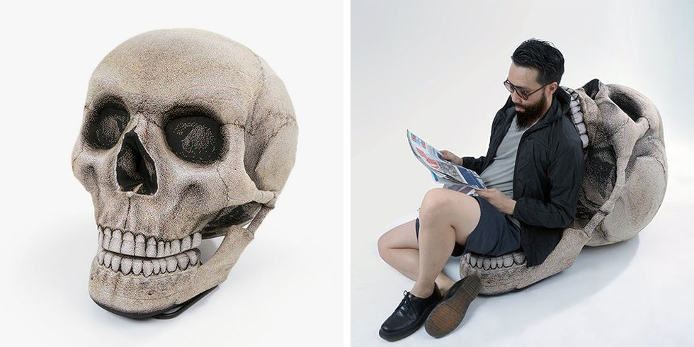 This Skull Bean Bag Chair Was Made to Sit and Watch Halloween Movies