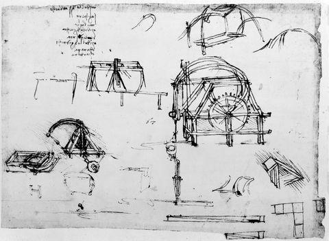 Sketch of a perpetual motion device designed by Leonardo da Vinci, c1472-1519. Artist: Leonardo da Vinci
