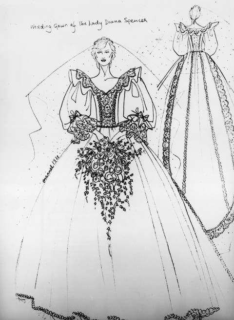 boda lady di principe carlos, vestido novia boceto diana de gales