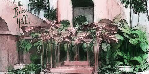 Arecales, Arch, Paint, Painting, Illustration, Arcade, Palm tree, Hacienda, Drawing, Artwork,