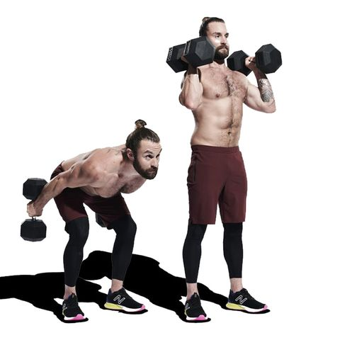 Weights, Exercise equipment, Kettlebell, Shoulder, Dumbbell, Standing, Arm, Sports equipment, Chest, Physical fitness,