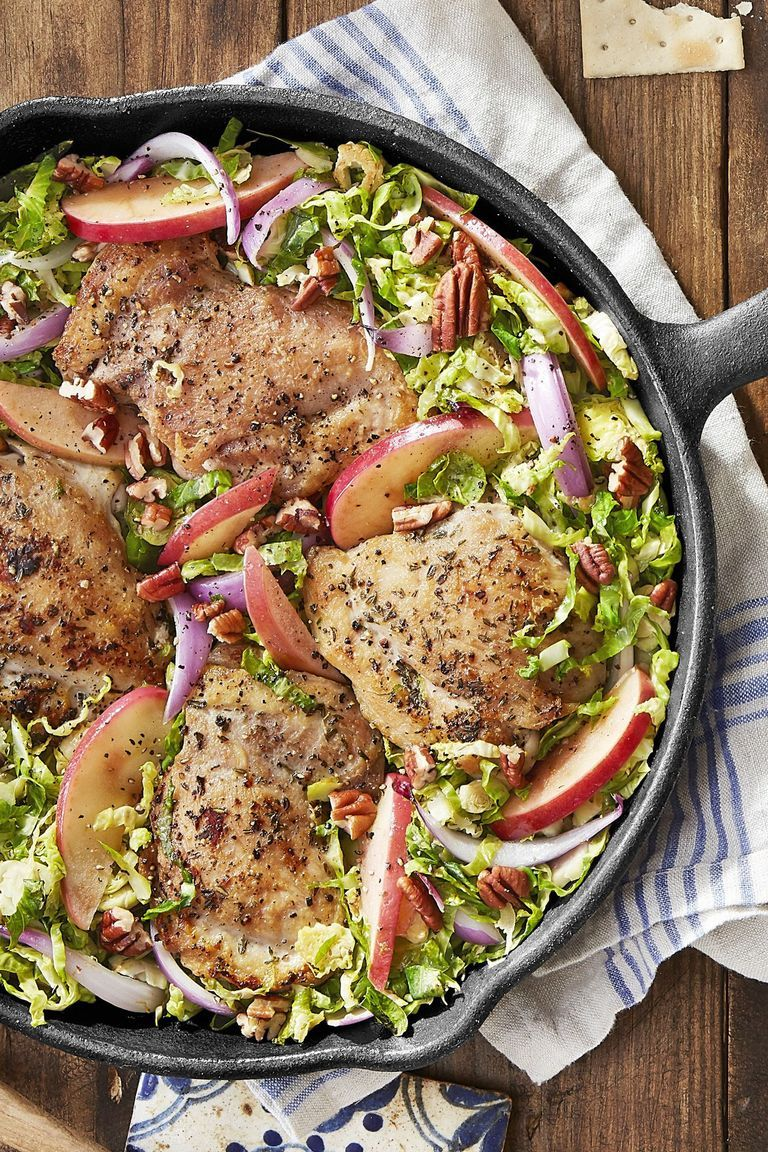25 Easy Healthy Dinner Recipes - Skillet Chicken with Brussels Sprouts and Apples