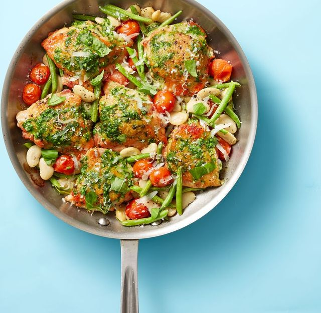 skillet pesto chicken and beans