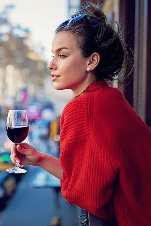 Hair, Red, Hairstyle, Street fashion, Lip, Glass, Red wine, Drink, Blond, Wine glass,