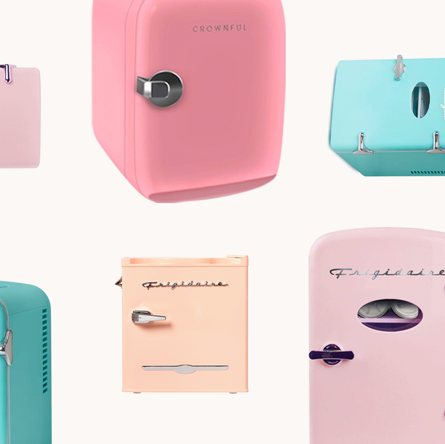 best skincare and makeup fridges in pink, blue, and peach
