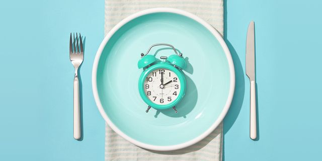 clock on plate with fork and knife