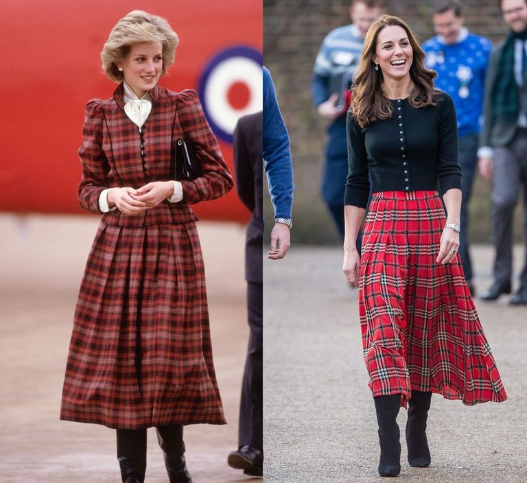Diana is seen here in a red tartan skirt suit by Caroline Charles in 1985; Kate appears in an A-line Emilia Wickstead skirt at a Christmas party for military families in London on December 4, 2018.