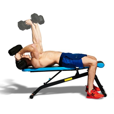weights, exercise equipment, dumbbell, free weight bar, bench, abdomen, arm, muscle, sports equipment, chest,