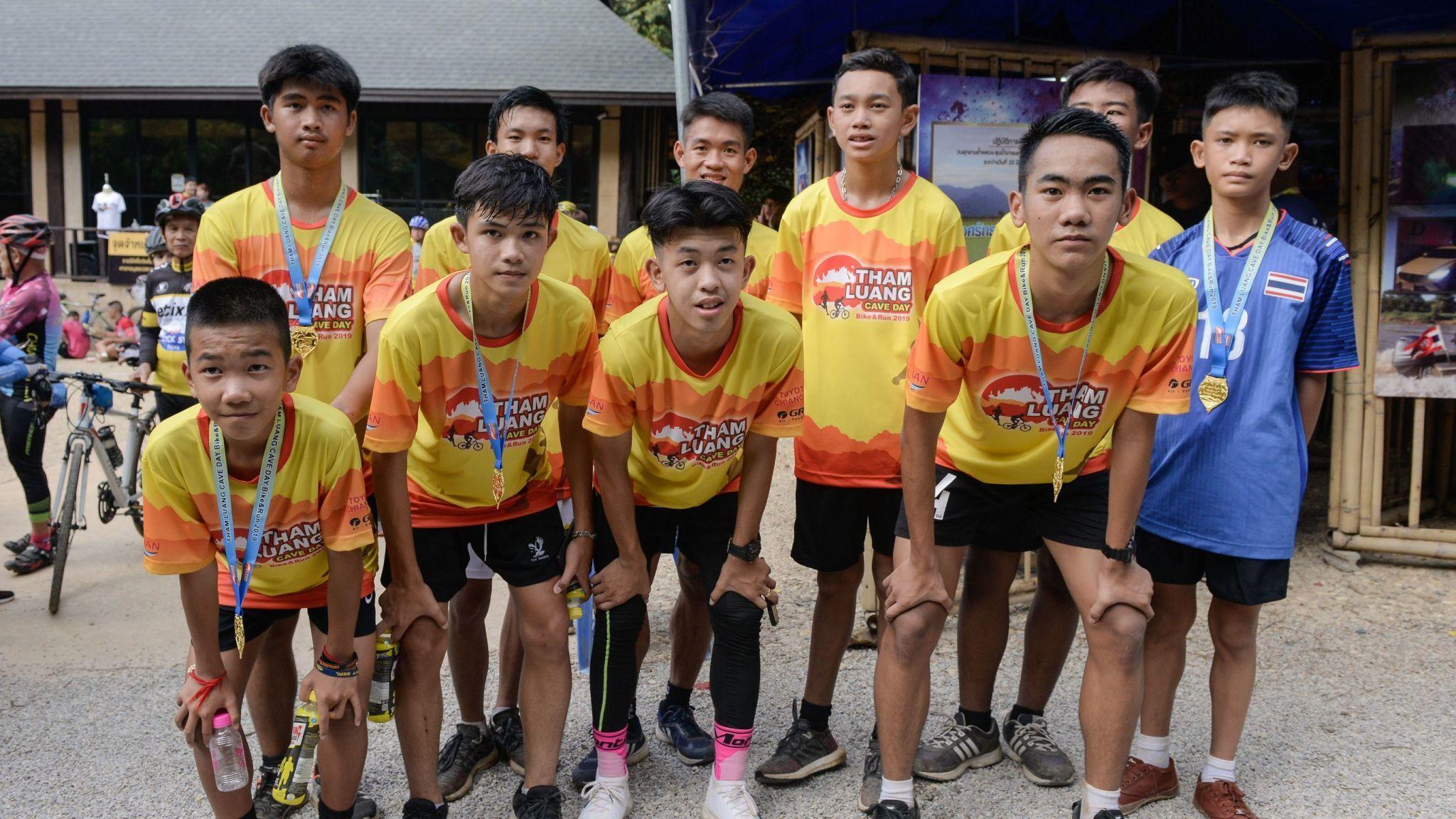 Thai Cave Footballers run marathon to mark the one-year anniversary of their rescue