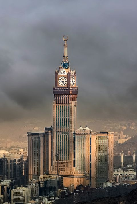 Skyline with Abraj Al Bait (Royal Clock Tower Makkah) in Mecca, Saudi Arabia.