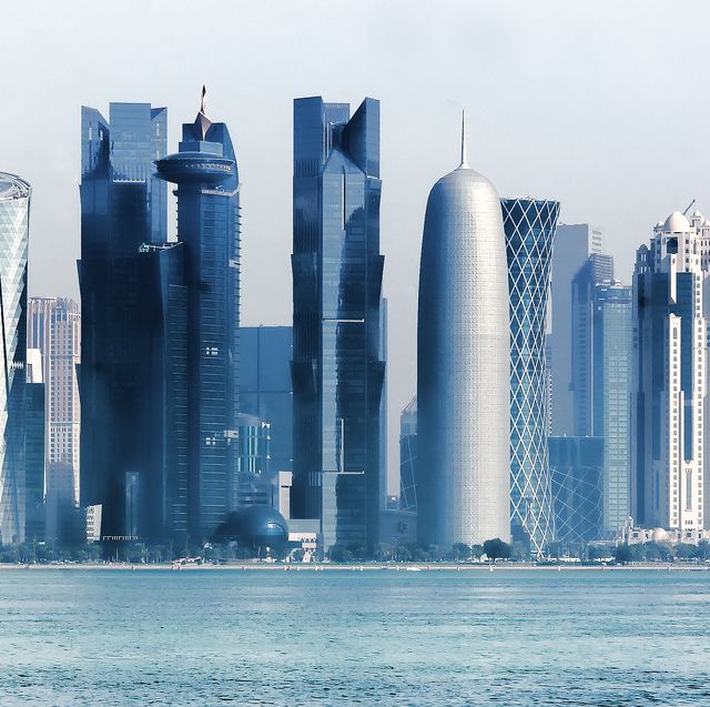 Skyline with modern skyscrapers of Doha. Qatar  from West Bay