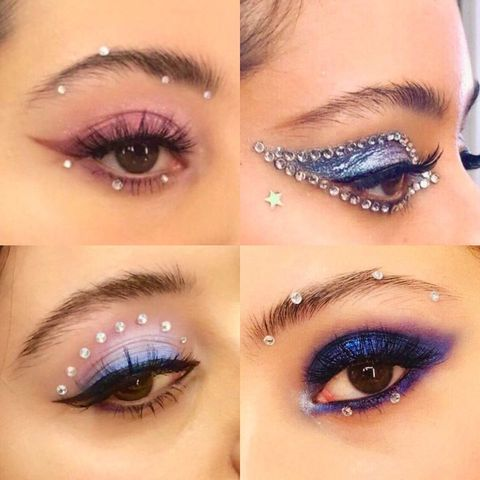 Eyebrow, Face, Eyelash, Eye, Eye shadow, Purple, Skin, Glitter, Organ, Lip,