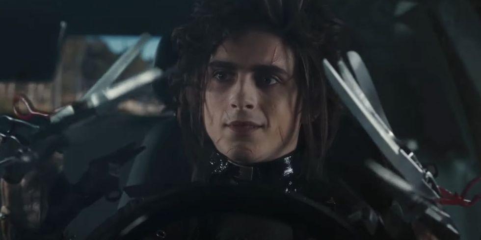Timothée Chalamet Plays Edward Scissorhands's Son, Edgar Scissorhands, in Cadillac's Super Bowl Ad