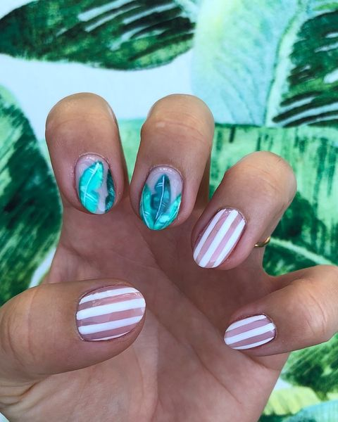Stripes and Leaves - Best Summer Nail Designs