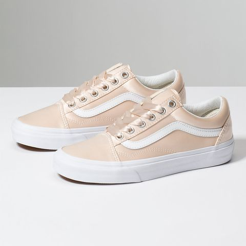 beige and rose gold vans