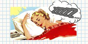 Het logo van ELLE's rubriek Slaappaspoort, met een illustratie van een slapende vrouw.