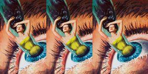 Een abstracte verbeelding van een vrouw die in een oog verdwijnt