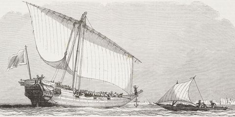 Slave ship of the African coast, slave trade