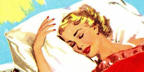 comic style woman sleeping illustration