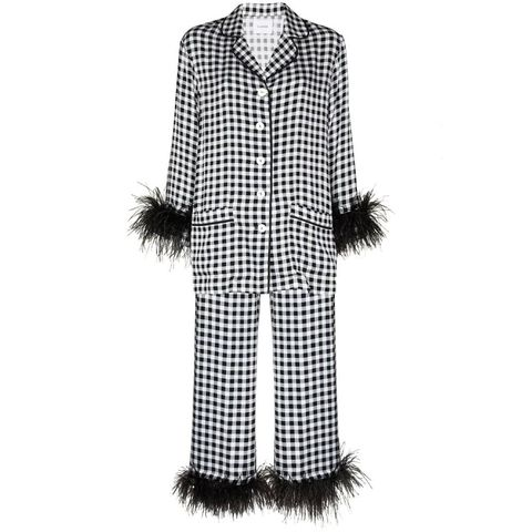 sleeper pyjama met veren afwerking