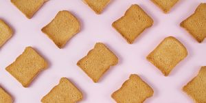 Slice of Toasted Bread on Pink Background