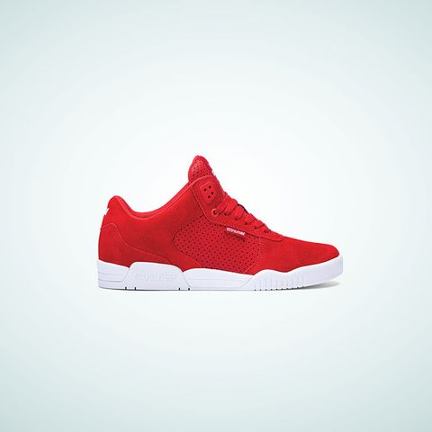 Shoe, White, Red, Carmine, Logo, Maroon, Grey, Walking shoe, Brand, Sneakers,