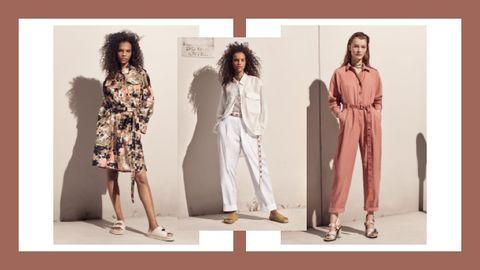 Fashion model, Clothing, Fashion, Dress, Pattern, Pattern, Design, Formal wear, Beige, Outerwear,