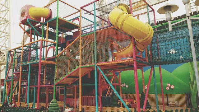 slides in amusement park