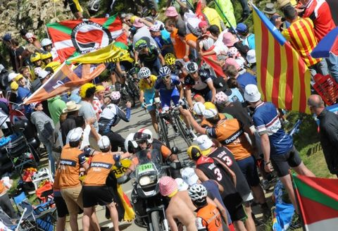 Crowd, Cycling shorts, Fan, Team, Bicycles--Equipment and supplies, Crew, Bicycle helmet, Endurance sports, Festival, Flag,