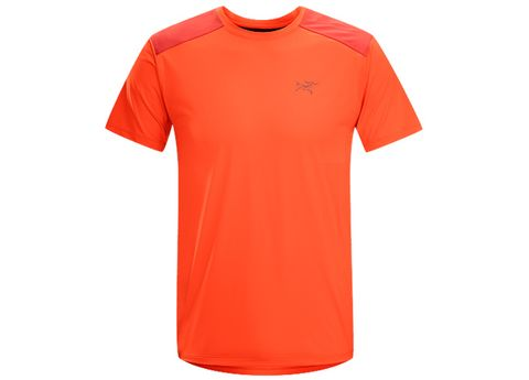 Product, Jersey, Sleeve, Sportswear, Shoulder, Red, Orange, T-shirt, Amber, Logo,