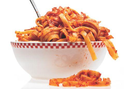 Pasta, Food, Cuisine, Dish, Fried food, Recipe, Orange, Al dente, Ingredient, Tableware,