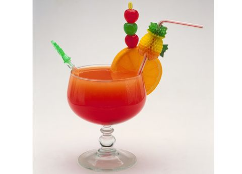 Liquid, Drink, Tableware, Juice, Cocktail, Food, Alcoholic beverage, Produce, Cocktail garnish, Drinking straw,
