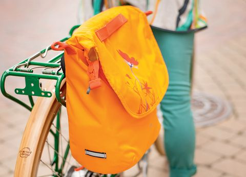 Bag, Bicycle accessory, Orange, Bicycles--Equipment and supplies, Luggage and bags, Bicycle wheel rim, Shoulder bag, Bicycle, Strap, Baggage,